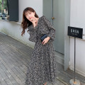 Dress Spring 2021 Apricot, black S,M,L,XL longuette singleton  Long sleeves commute V-neck High waist Broken flowers Socket A-line skirt routine Others 18-24 years old Type A Other / other Korean version printing 31% (inclusive) - 50% (inclusive) Chiffon polyester fiber