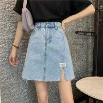 skirt Summer 2021 Short skirt High waist Denim skirt 71% (inclusive) - 80% (inclusive) commute cotton 18-24 years old Type A Other / other 8098 Denim Korean version S,M,L,XL Denim blue