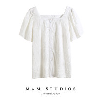 shirt White, blue S,M,L,XL,2XL Summer 2021 other 51% (inclusive) - 70% (inclusive) Short sleeve commute Regular square neck Single row multi button Lotus leaf sleeve Solid color 18-24 years old Straight cylinder Korean version Button Chiffon