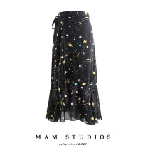 skirt Summer 2021 Average size Star color, azalea with blue background, Daisy black, Daisy white, orange leaves, Narcissus with black background, Campanula purple, meteor Mid length dress fresh High waist Irregular Decor Type A 18-24 years old 71% (inclusive) - 80% (inclusive) Chiffon other