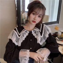 shirt White, black Average size Spring 2021 other 30% and below Long sleeves commute Regular Doll Collar Single row multi button routine Solid color 18-24 years old Straight cylinder Korean version Lace, stitching