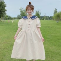 Dress Summer 2021 Apricot, Navy Average size Mid length dress singleton  Short sleeve commute Admiral High waist Socket Big swing puff sleeve Others 18-24 years old Type A Korean version Splicing