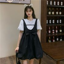 Dress Summer 2021 Black strap skirt, white top Average size Middle-skirt Two piece set Sleeveless commute Crew neck High waist Socket A-line skirt routine straps 18-24 years old Type A Korean version Bowknot, stitching