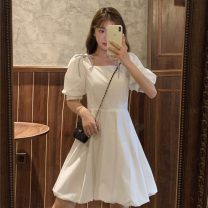 Dress Summer 2021 White, black S, M Middle-skirt singleton  Short sleeve commute square neck High waist Socket A-line skirt puff sleeve Others 18-24 years old Type A Korean version Splicing