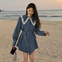 Dress Spring 2021 Picture color Average size Middle-skirt singleton  Long sleeves commute Doll Collar High waist Single breasted A-line skirt routine Others 18-24 years old Type A Korean version Lace up, stitching Denim