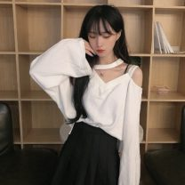 T-shirt Gray, white, black Average size Autumn 2020 Long sleeves V-neck easy Regular routine commute other 30% and below 18-24 years old Korean version Solid color