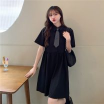Dress Summer 2021 Blue (for tie), black (for tie) Average size Middle-skirt singleton  Short sleeve commute Polo collar Loose waist Socket A-line skirt routine Others 18-24 years old Type A Korean version Splicing 30% and below