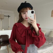 shirt White, red, black Average size Autumn 2020 other 30% and below Long sleeves commute Regular Lotus leaf collar Socket pagoda sleeve Solid color 18-24 years old Straight cylinder Korean version Bow, Ruffle