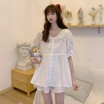 Pajamas / housewear set female Other / other Average size Pajama suit, nightdress other Short sleeve Sweet pajamas spring routine Crew neck Solid color shorts Front buckle youth 2 pieces lace longuette
