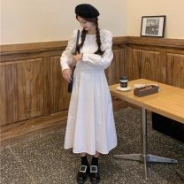 Dress Spring 2021 White, blue, pink Average size Mid length dress singleton  Long sleeves commute Crew neck High waist Solid color Socket A-line skirt puff sleeve Others 18-24 years old Type A Korean version Splicing