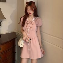 Dress Summer 2021 Middle-skirt singleton  Short sleeve commute Admiral High waist Solid color Single breasted A-line skirt puff sleeve Others 18-24 years old Type A Korean version Bowknot, stitching 0420000009 30% and below other other S,M