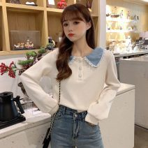 T-shirt Off white, blue collar Average size Autumn 2020 Long sleeves Doll Collar Straight cylinder Regular routine commute other 96% and above 18-24 years old Korean version