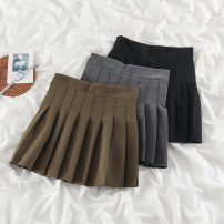 skirt Spring 2021 S,M,L,XL Black, gray, card Short skirt commute High waist Pleated skirt Solid color Type A 18-24 years old 51% (inclusive) - 70% (inclusive) other polyester fiber Pleats, zippers Korean version