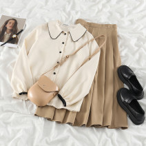 Fashion suit Spring 2021 S. M, l, average size Apricot shirt, apricot skirt 18-25 years old 51% (inclusive) - 70% (inclusive) polyester fiber