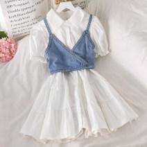 Fashion suit Summer 2021 Average size White shirt skirt, blue shirt skirt, light blue jeans sling, dark blue jeans sling 18-25 years old