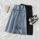 skirt Spring 2021 S,M,L,XL Light blue, black Mid length dress commute High waist Denim skirt Solid color Type A 18-24 years old 71% (inclusive) - 80% (inclusive) other polyester fiber Korean version