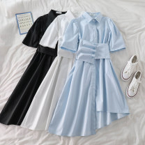 Dress Summer 2021 White, blue, black Average size Mid length dress Two piece set commute Polo collar Solid color Irregular skirt 18-24 years old Type A Korean version