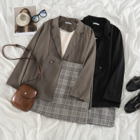 Fashion suit Spring 2021 S. M, average size Khaki suit, black suit, apricot sling, black sling, Khaki Skirt, black skirt 18-25 years old 51% (inclusive) - 70% (inclusive) polyester fiber