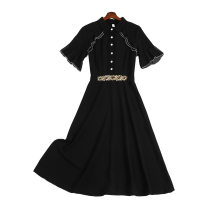 Women's large Spring 2021 black XL (110-130 Jin) 2XL (130-150 Jin) 3XL (150-170 Jin) 4XL (170-190 Jin) 5XL (190-210 Jin) Dress singleton  commute Self cultivation moderate Socket Short sleeve Solid color Polo collar polyester fiber Three dimensional cutting routine LS21ALM11106 Lisa 25-29 years old