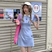 Dress Summer 2021 blue Average size Short skirt singleton  Short sleeve commute Polo collar High waist routine 18-24 years old Type A Korean version Splicing