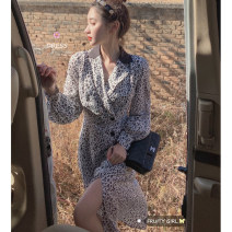 Dress Spring 2021 Picture color S,M,L Mid length dress singleton  Long sleeves commute V-neck High waist Leopard Print A-line skirt routine 18-24 years old Type A Retro