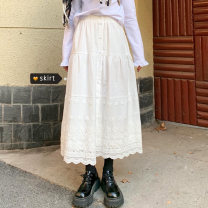 skirt Spring 2020 Average size White, black Mid length dress commute High waist A-line skirt Solid color Type A 18-24 years old Korean version