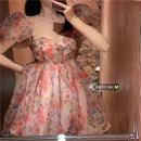 Dress Summer 2021 Floral skirt S, M Middle-skirt singleton  Short sleeve commute square neck High waist Decor 18-24 years old Korean version