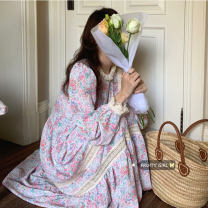 Dress Summer 2021 Pink flowers Average size Mid length dress singleton  Long sleeves commute Crew neck High waist Decor Socket 18-24 years old Type A Korean version Chiffon