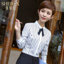 shirt S M L XL XXL 3XL 4XL Winter 2017 polyester fiber 96% and above Long sleeves commute Regular Polo collar Single row multi button routine stripe 25-29 years old Self cultivation She-x / Xia Xuaner Korean version YR008 Patchwork printing Polyester 96.7% polyurethane elastic fiber (spandex) 3.3%