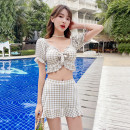 Split swimsuit other Blue 8808, green 8808, beige 8808 S [recommended 80-90 kg], m [recommended 90-100 kg], l [recommended 100-110 kg], XL [recommended 110-120 kg] Skirt split swimsuit With chest pad without steel support Polyester, others female