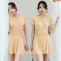 one piece  Independent brand S [recommended 80-90 kg], m [recommended 90-100 kg], l [recommended 100-110 kg], XL [recommended 110-120 kg] Skirt one piece With chest pad without steel support Polyester, others female Sleeveless Casual swimsuit other