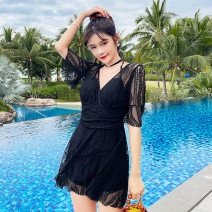 one piece  other S [recommended 80-90 kg], m [recommended 90-100 kg], l [recommended 100-110 kg], XL [recommended 110-120 kg] Black 8219, pink 8219, blue 8219 Skirt one piece Steel strap breast pad Polyester, others female Short sleeve Casual swimsuit Solid color