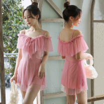 one piece  other S [recommended 80-90 kg], m [recommended 90-100 kg], l [recommended 100-110 kg], XL [recommended 110-120 kg] Skirt one piece With chest pad without steel support Polyester, others female Short sleeve Casual swimsuit Solid color