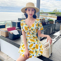one piece  other S [recommended 80-90 kg], m [recommended 90-100 kg], l [recommended 100-110 kg], XL [recommended 110-120 kg] Green 8807, blue 8807, yellow 8807 Skirt one piece With chest pad without steel support Polyester, others female Short sleeve Casual swimsuit other