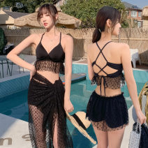Split swimsuit other Black 028856 Shu, blue 028856 Shu, Dousha red 028856 Shu M [recommended 80-95 kg], l [recommended 95-110 kg], XL [recommended 110-125 kg] Skirt split swimsuit Steel strap breast pad Polyester, others female