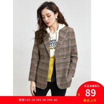 short coat Spring 2021 M,3XL,L,S,2XL,XL Gray grid has a belt, coffee grid, coffee grid has a belt, gray grid Long sleeves Medium length routine singleton  Versatile routine tailored collar Single row two buttons 30-34 years old 9 Charms 9m