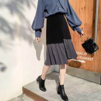 skirt Spring of 2019 S,M,L,XL black Mid length dress Versatile Natural waist Pleated skirt Solid color Type H 18-24 years old Z Pleating, asymmetry, zipper, stitching