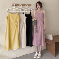 Dress Summer 2021 Apricot, pink, yellow, black Average size Mid length dress singleton  Sleeveless commute Crew neck Loose waist Solid color Socket A-line skirt camisole 18-24 years old Type A Korean version backless