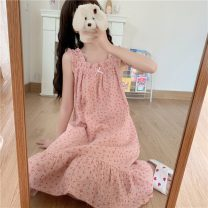 Nightdress Other / other Apricot, blue, pink Average size Sweet pajamas Middle-skirt summer Plants and flowers youth printing