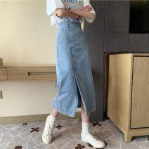 skirt Spring 2021 S,M,L Denim blue Mid length dress Versatile High waist Denim skirt Solid color Type A 18-24 years old