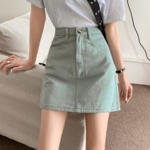 skirt Summer 2021 S,M,L Mint Milk Green Short skirt commute High waist Denim skirt Solid color Type A 18-24 years old Korean version