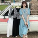 Dress Summer 2021 Light blue, white, black Average size Mid length dress Two piece set Short sleeve commute Crew neck High waist Solid color Socket A-line skirt puff sleeve 18-24 years old Type A Korean version