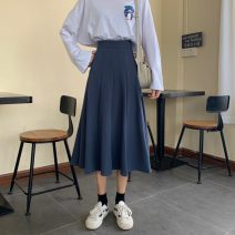 skirt Spring 2021 S,M,L Blue, black Mid length dress commute High waist A-line skirt Solid color Type A 18-24 years old 71% (inclusive) - 80% (inclusive) other polyester fiber zipper Korean version