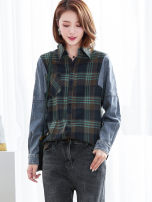 Women's large Spring 2020 Blue lattice Large XL, large XXL, large XXL, large XXXXL, large L, large M shirt singleton  commute easy moderate Cardigan Long sleeves lattice Korean version square neck routine Polyester, cotton Three dimensional cutting shirt sleeve 81% (inclusive) - 90% (inclusive)