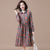 Women's large Autumn 2020 Picture color Big XL, big XXL, big XXXXL, big XXXXL, big L, big M Dress singleton  commute easy moderate Socket Long sleeves Decor Korean version Polo collar cotton Three dimensional cutting shirt sleeve 35-39 years old Bandage 71% (inclusive) - 80% (inclusive) Medium length