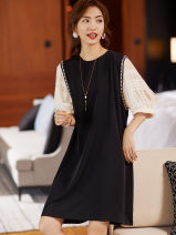 Women's large Summer 2020 black Big XL, big XXL, big XXL, big L, big M Dress singleton  commute easy moderate Socket elbow sleeve Solid color Korean version Crew neck Polyester, polyester Three dimensional cutting routine 35-39 years old Three dimensional decoration 51% (inclusive) - 70% (inclusive)