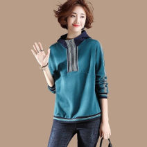 Women's large Autumn 2020 Malachite blue Large XL, large XXL, large XXL, large XXXXL, large L, large M Sweater / sweater singleton  commute easy moderate Socket Long sleeves Solid color Korean version Hood routine cotton Three dimensional cutting routine 35-39 years old Three dimensional decoration