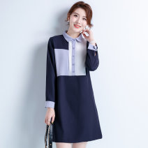 Dress Autumn of 2019 dark blue M,L,XL,2XL,3XL,4XL Mid length dress singleton  Long sleeves commute Polo collar Loose waist other Other / other Korean version 71% (inclusive) - 80% (inclusive) Chiffon