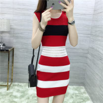 Dress Summer 2021 One size fits all shoulder and waist holes Mid length dress singleton  Sleeveless commute Crew neck middle-waisted stripe Socket One pace skirt routine 18-24 years old Type A lady 51% (inclusive) - 70% (inclusive) brocade Cellulose acetate