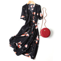 Dress Summer 2020 black M,L,XL,2XL Mid length dress singleton  Short sleeve V-neck middle-waisted Decor other routine Type X More than 95% Crepe de Chine silk